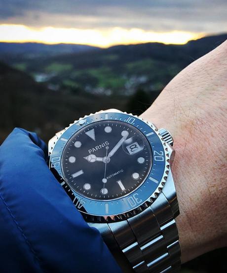 【全6色】 Parnis40ミリメートルメンズ自動腕時計機械式時計セラミックダイブスチール機械式男性腕時計