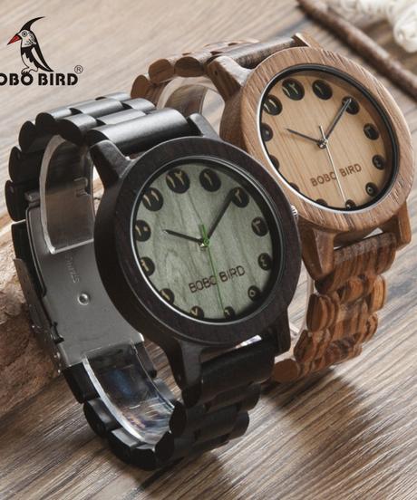BOBO BIRD メンズ腕時計アラビア数字ダイヤル表示クォーツ木製腕時計