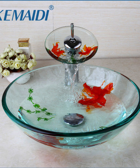 KEMAIDI 現代浴室ガラスゴールド魚塗装容器シンク注ぎ口とポップアップドレインコンボシンクセット浴室シンクアクセサリー