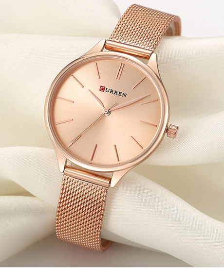 【全6色】 CURREN女性の腕時計高級腕時計レロジオフェミニノ時計ミラノ鋼のレディースローズゴールドクォーツレディース腕時計