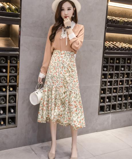 2019年春の新しい不規則なフリルプリントシフォンAラインスカート女性ファッションセクシーなロングフラワースカート 3623