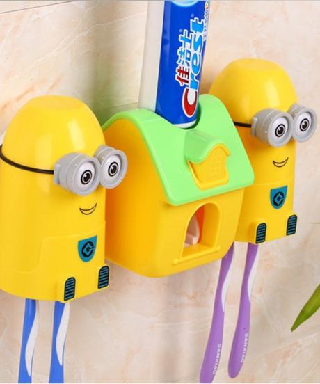 ミニオンズ ワンタッチ歯磨き粉ディスペンサー&歯ブラシ置き