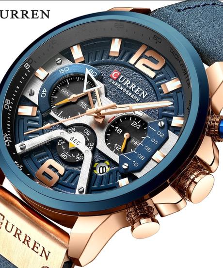 【全5色】 CURRENカジュアルスポーツ腕時計男性ブルートップブランド高級ミリタリーレザー腕時計男性時計ファッションクロノグラフ腕時計