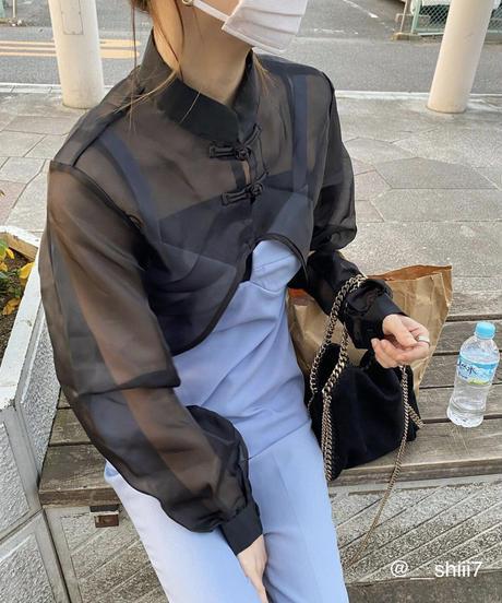 【 予約商品 】チャイナクロップドTP / ブラック