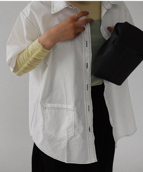 アシメポケットステッチシャツ/ホワイト
