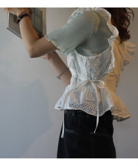 【 予約商品 】コットンレースビスチェ/ホワイト