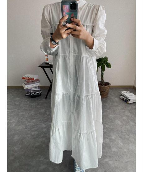 【 予約商品 】コットンギャザーワンピース/ホワイト