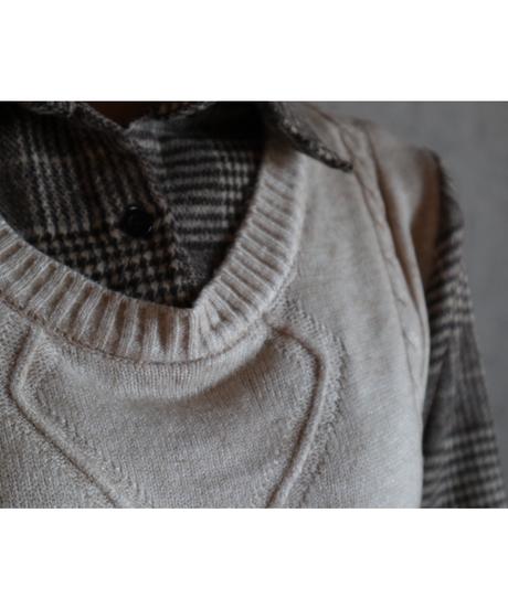 #142 チェックシャツベスト/  ベージュ