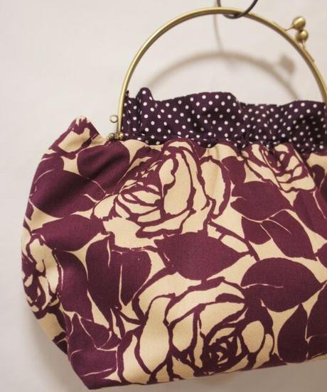 【口金バッグ】紫の薔薇