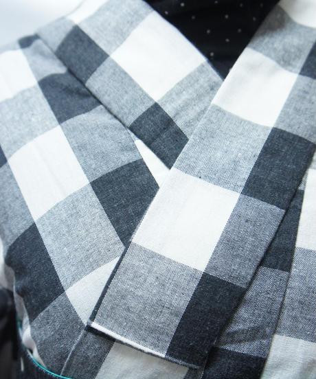 綿ポリ着物 Lサイズ / 黒チェック