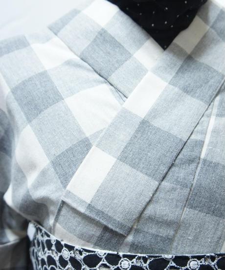 綿ポリ着物 Mサイズ / グレーチェック