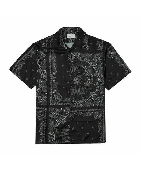 TAIN DOUBLE PUSH / paisley open collar shirts black