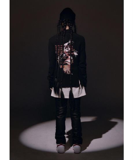 SUNDAYOFFCLUB / kukri shape denim pants coated black