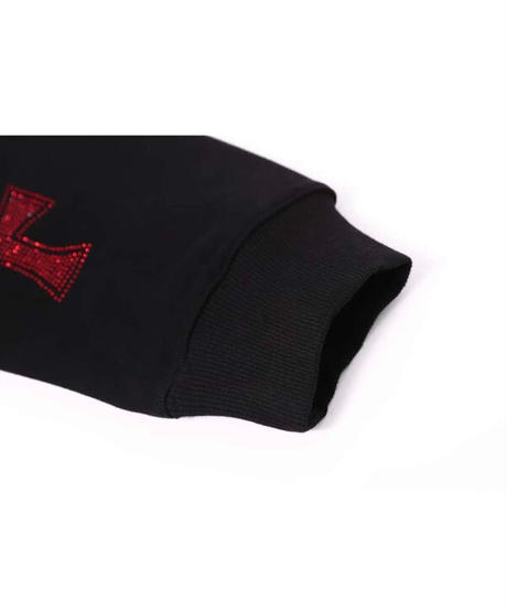 UNKNOWN / cross rhinestone zip hoodie