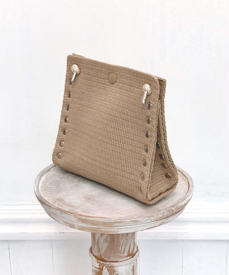 "KNIT BAG  "" S ""  SAND BEIGE"