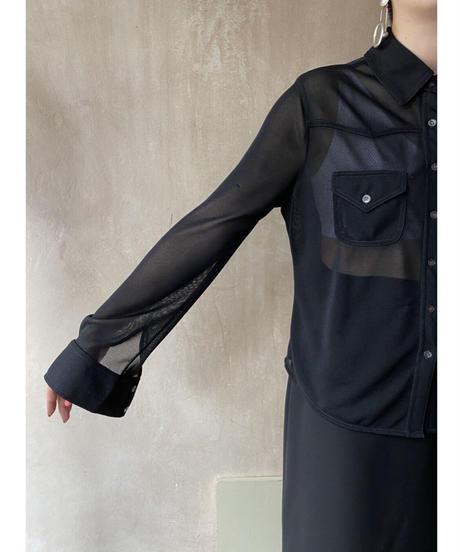 ヨークデザイン黒シースルーシャツ