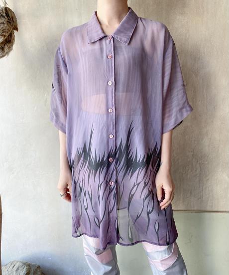 くすみラベンダーBIGシースルーファイヤーシャツ