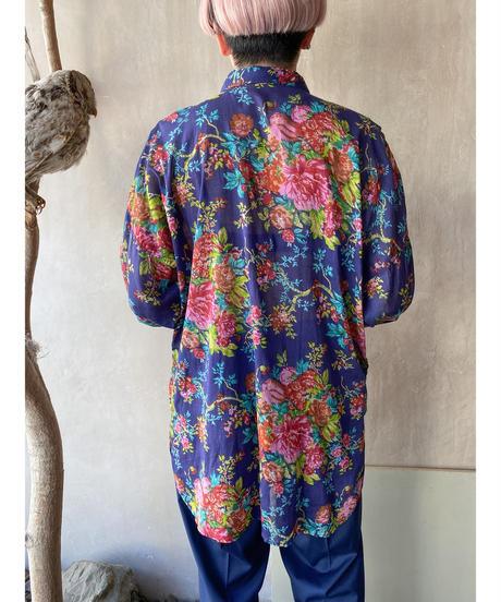 ネイビーカラフル花シャツ