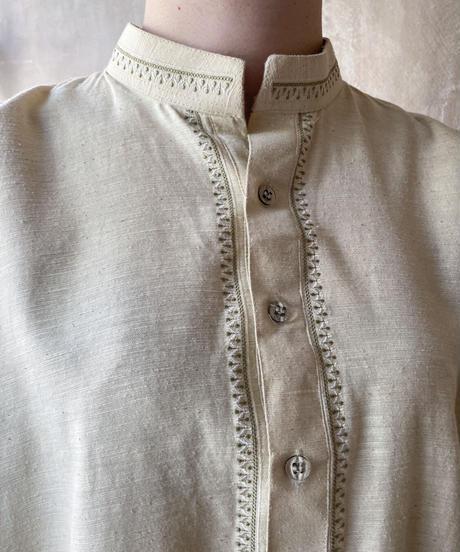 ベージュロングカフタンシャツ