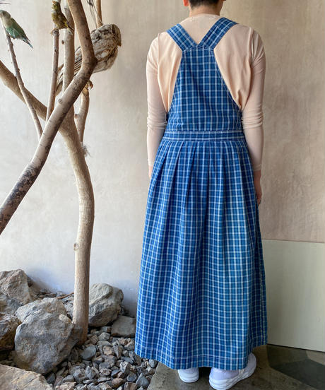 青チェックロングジャンパースカート