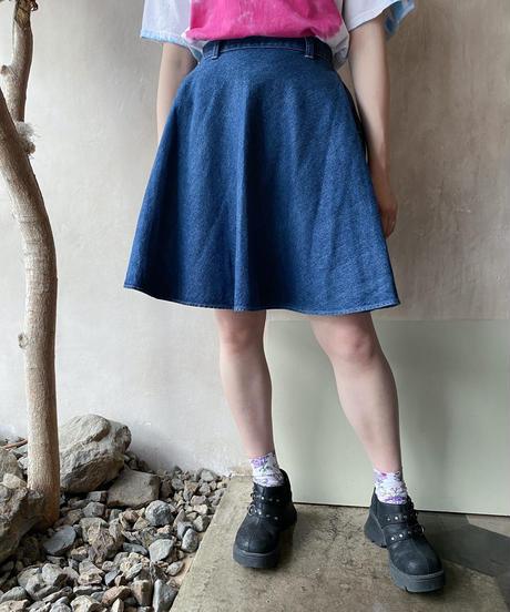 デニムフレアミニスカート