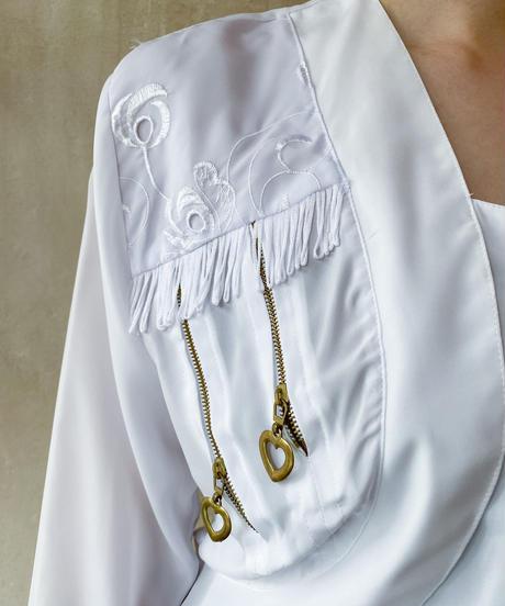 白zipデザインブラウス
