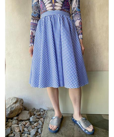 白ブルー千鳥格子サーキュラースカート