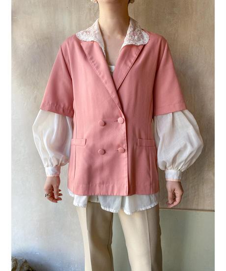 ピンク半袖ジャケット