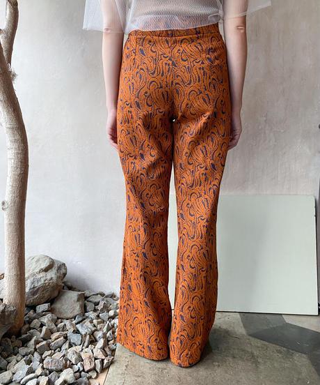 オレンジブラウン柄フレアパンツ