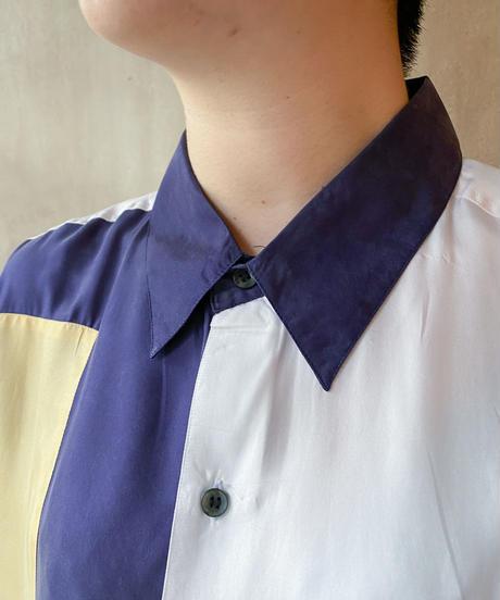 シルク白ネイビーベージュ切り替えシャツ