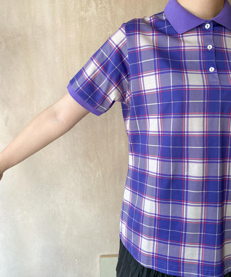パープルチェックポロシャツ