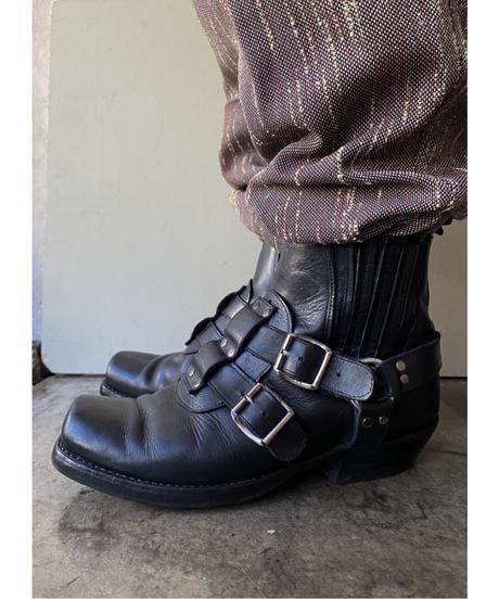 シルバーリングブラックショートブーツ 26cm