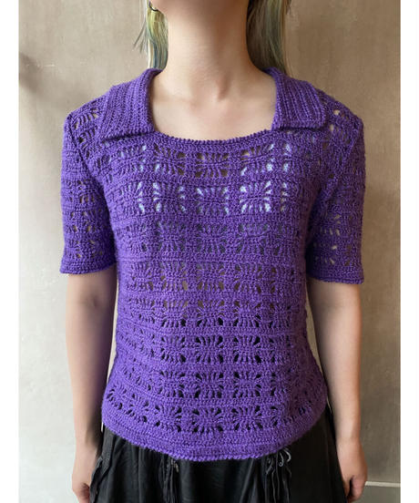 ラメパープル鉤針編みトップス