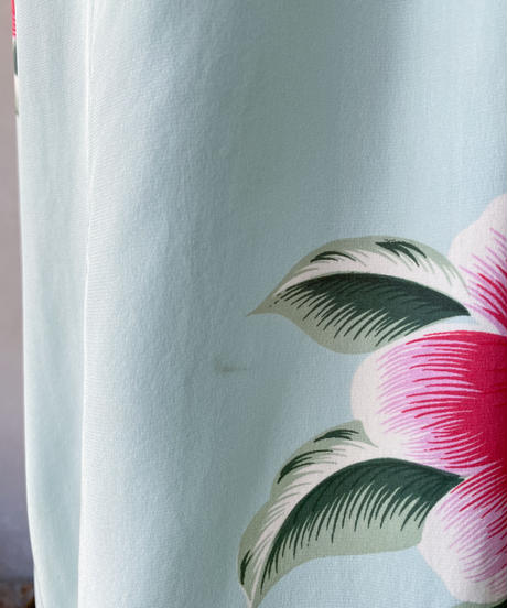 水色ピンク花柄チャイナパンツ