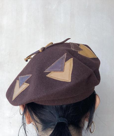 ブラウンレザー△ベレー帽