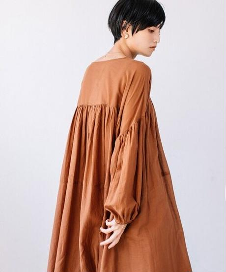 Indian cotton gather one-piece/Brown