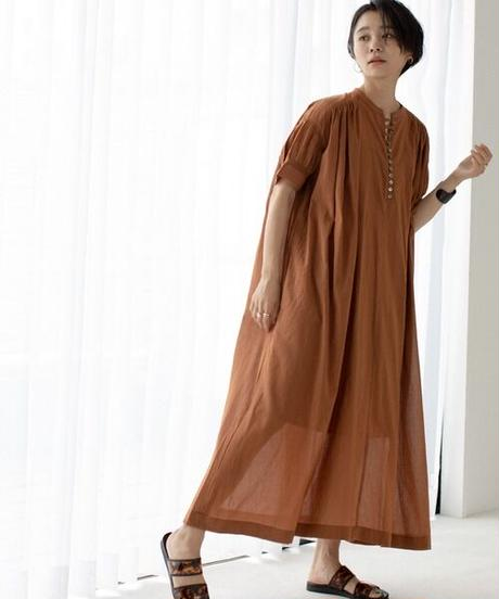 Indian cotton long one-piece/Brown