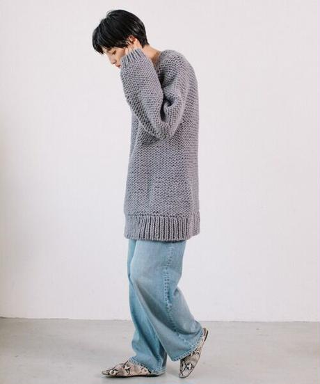 Peru hand knit pullover/gray