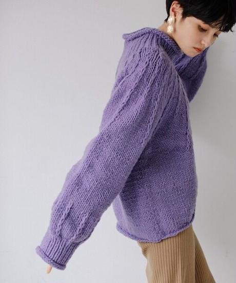 Hand knit pullover/LILAC
