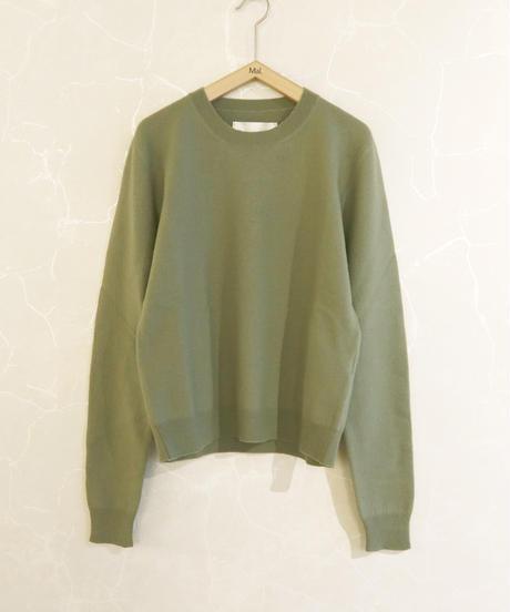 【 STUDIO NICHOLSON】Felted crew neck knit/Avocado Green