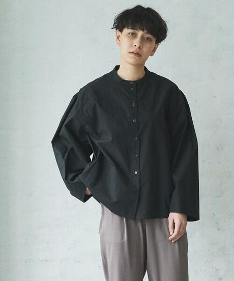 Typewriter puff sleeve shirt/Black