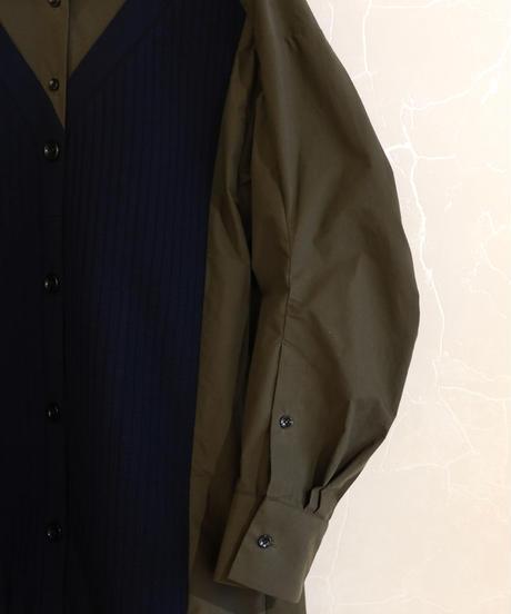 【RUMCHE】Knit bonding shirt one-piece / khaki