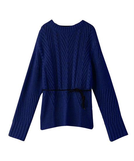 【AKIRANAKA】Back leather knit/navy