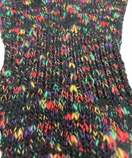 ローゲージ残糸ソックスのくるぶし丈(カラフル)