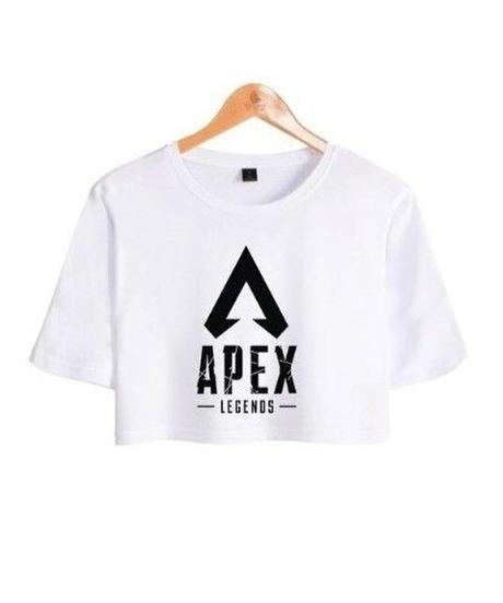 APEX LEGENDS シンプル ロゴデザイン フロントプリント ショート丈 半袖 レディース トップス 半袖 夏 ミニ丈Tシャツ XS~XXL ホワイト