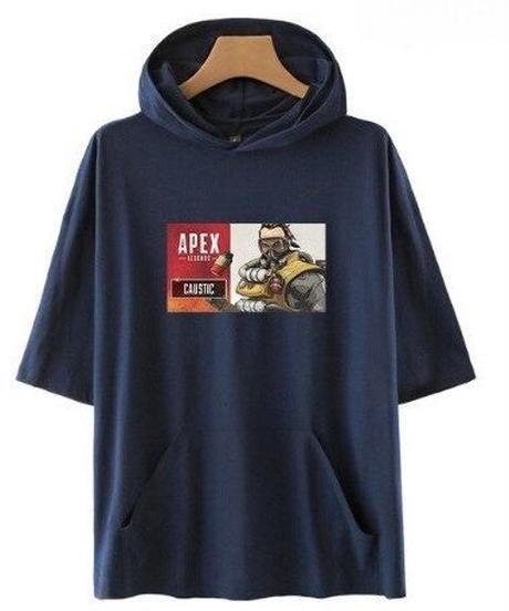 APEX LEGENDS キャラクター&ロゴ フロントプリント 半袖 ユニセックス フード付Tシャツ ポケット付  XXS~4XL ネイビー