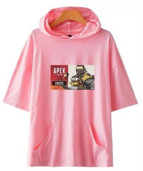APEX LEGENDS キャラクター&ロゴ フロントプリント 半袖 ユニセックス フード付Tシャツ ポケット付  XXS~4XL ピンク