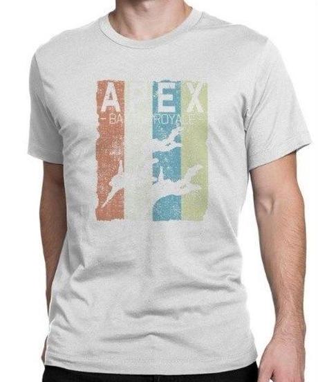 APEX LEGENDS レトロ イラストデザイン メンズ 半袖Tシャツ プリント サマー トップス 高品質 大人用 100%コットン  S~6XL ホワイト