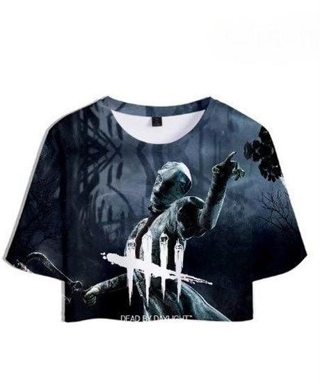 Dead by Daylight ナース BIGプリント 5ラインロゴ レディース ショート丈 半袖 Tシャツ カジュアル トップス XS~XXL