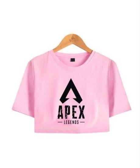 APEX LEGENDS シンプル ロゴデザイン フロントプリント ショート丈 半袖 レディース トップス 半袖 夏 ミニ丈Tシャツ XS~XXL ピンク